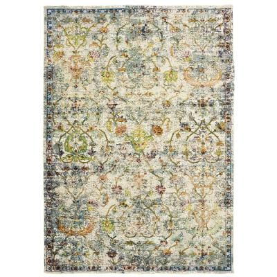 Gala Old World Victorian Green 7 ft. 9 in. x 9 ft. 9 in. Indoor Area Rug