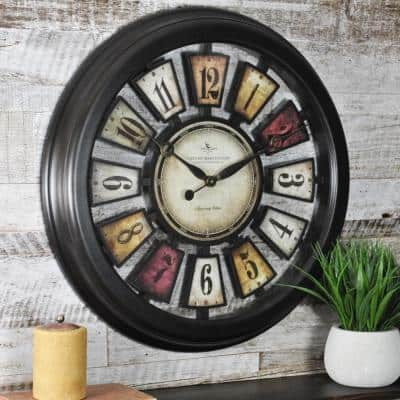 22.5 in. Round Numeral Plaques Wall Clock
