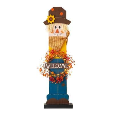 42 in. H Fall Lighted Wooden Scarecrow Porch Decor with Wreath