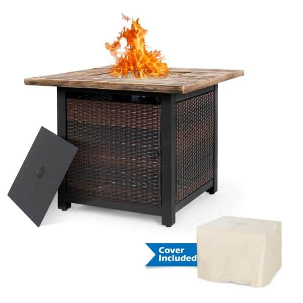 Nuu Garden 34 In Square Pe Ratten Outdoor Propane Gas Fire Pit Table With Cover With 50 000 Btu Af007 C The Home Depot