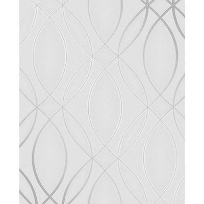 Lisandro Light Grey Geometric Lattice Light Grey Wallpaper Sample