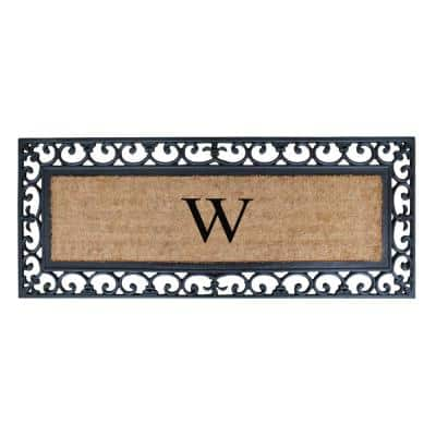 A1HC First Impression Myla 17.7 in. x 47.25 in. Monogrammed Rubber and Coir Monogrammed W Door Mat