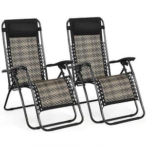 Folding Rattan Zero Gravity Metal Outdoor Lounge Chair in Gray (2-Pack)