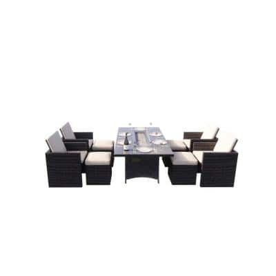 Belle Brown 9-Pieces Wicker Patio Outdoor Rectangular Gas Fire Pit Sitting Set with Beige Cushions