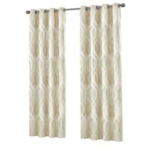 Ivory Trellis Thermal Blackout Curtain - 52 in. W x 95 in. L