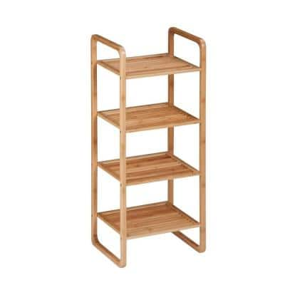 Bamboo 4-Tier Wood Shelving Unit (15 in. W x 36 in. H x 12 in. D)