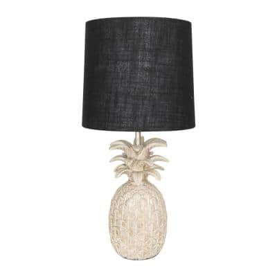 18 in. White Pineapple Shaped Table Lamp with Black Distressed and Linen Shade