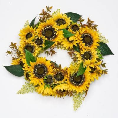 24 in. Artificial Floral Sunflower Wreath