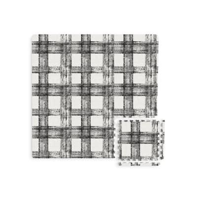 Sawyer Black Plaid 11.4 in. x 11.4 in. Foam Interlocking Floor Tiles (44-Pieces/Case)