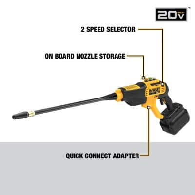 20-Volt MAX 550 PSI, 1.0 GPM Cold Water Cordless Electric Power Cleaner with 4 Nozzles, 5.0 Ah Battery and Charger