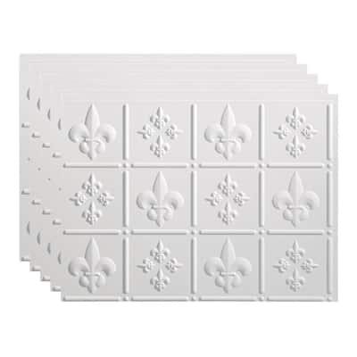 Fleur de Lis 18 in. x 24 in. Matte White Vinyl Decorative Wall Tile Backsplash 15 sq. ft. Kit