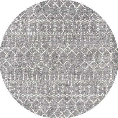 Moroccan Hype Boho Vintage Diamond Gray/Ivory 5 ft. Round Area Rug