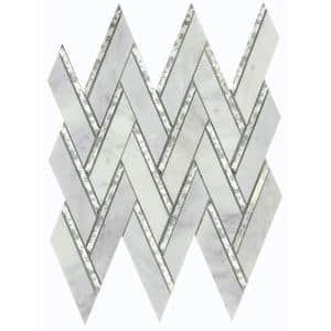 Impulse Winter 13.98 in. x 15.16 in. Chevron Glossy Marble Mosaic Tile (1.471 sq. ft./Each)