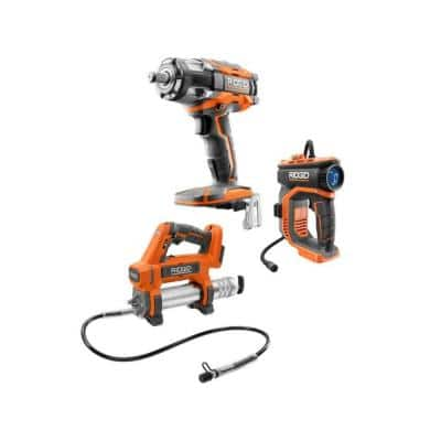 18V Cordless 3-Tool Combo Kit with Grease Gun, Impact Wrench, and Inflator (Tools Only)