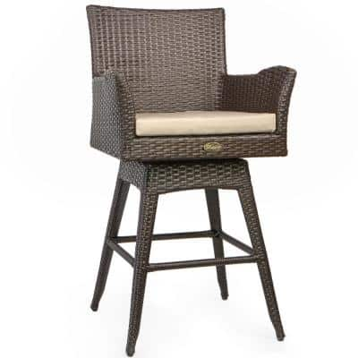 Rattan Crawford Wicker Outdoor Patio Bar Stool with Ivory Cushion Included (2-Piece)