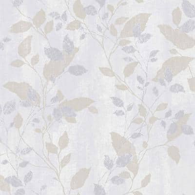 Vermeil Leaf Grey Paper Strippable Roll (Covers 56 sq. ft.)