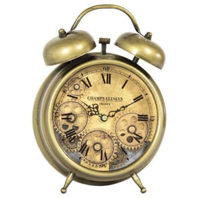 Aged Bronze and Brass Gears Table Top Clock
