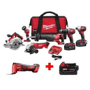 M18 18-Volt Lithium-Ion Cordless Combo Tool Kit (6-Tool) with Free M18 Multi-Tool and 5.0 Ah Battery