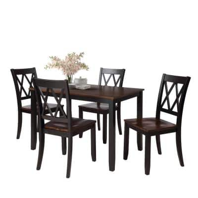 Regan 5-Piece Wood Top Black and Cherry Dining Table Set with Armless Chair