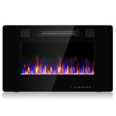 30 in. Recessed Ultra Thin Wall-Mounted or Insert Electric Fireplace Heater in Black