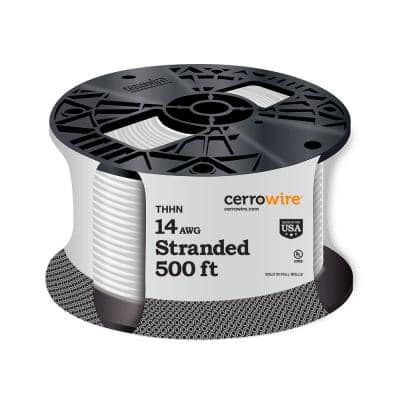 500 ft. 14 Gauge White Stranded CU THHN Wire
