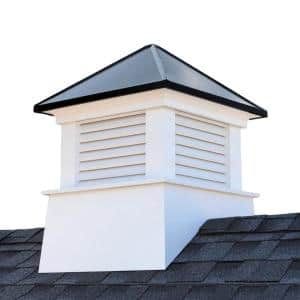 Manchester 30 in. x 30 in. x 40 in. Vinyl Cupola with Black Aluminum Roof