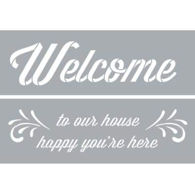 6 in. x 18 in. Happy You're Here Stencil