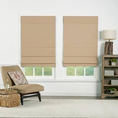 Khaki Cordless Blackout Energy-Efficient Cotton Roman Shades 25 in. W x 72 in. L