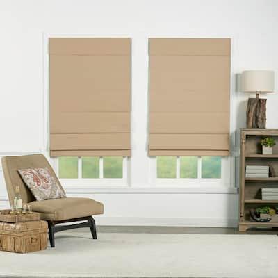 Khaki Cordless Blackout Energy-Efficient Cotton Roman Shades 29 in. W x 72 in. L