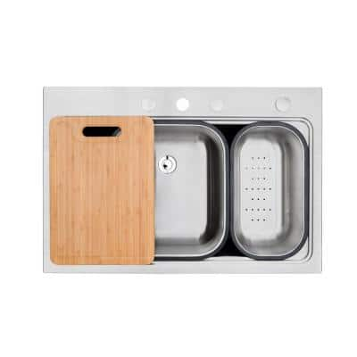 Stainless Steel 18G Topmount 33 in. 4 FaucetHole Single Bowl Drop-In Kitchen Sink w/Cutting Board, Colanders & Strainer