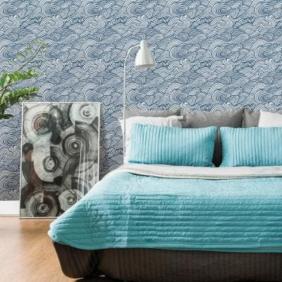 Mare Navy Wave Paper Non-Pasted Wallpaper Roll (Covers 56.4 Sq. Ft.)