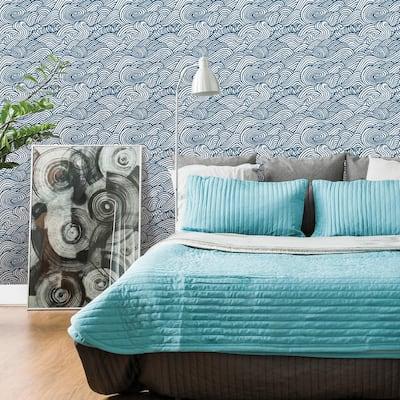 Mare Navy Wave Navy Wallpaper Sample
