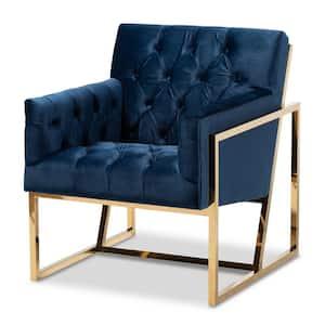 Milano Navy Velvet Lounge Chair