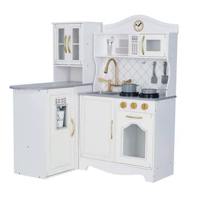 Teamson - Kids Little Chef Upper East Retro Play Kitchen - White/Gold