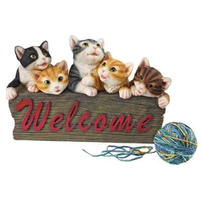 8 in. H Kitten Kaboodle Cat Welcome Sign Statue