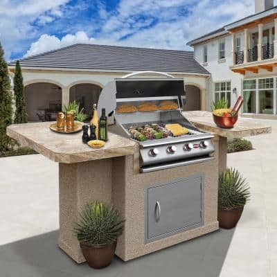 4-Burner Stainless Steel Propane Grill Island with 27 in. Access Door