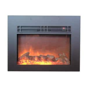 True Flame 30 in. Electric Fireplace Insert in Sleek Black with Surround