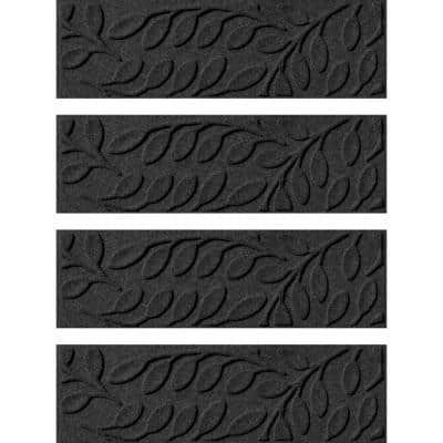 Brittney Leaf 8.5 in. x 30 in. Stair Treads (Set of 4) Charcoal