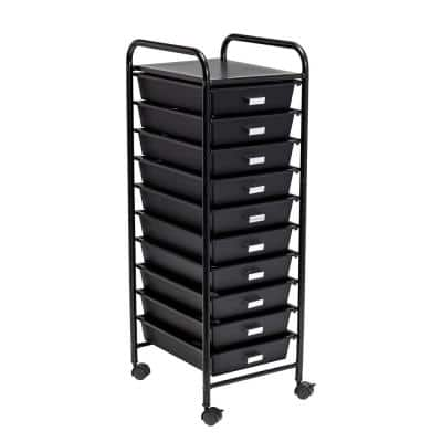 Steel and Plastic Rolling 10-Drawer Cart in Black
