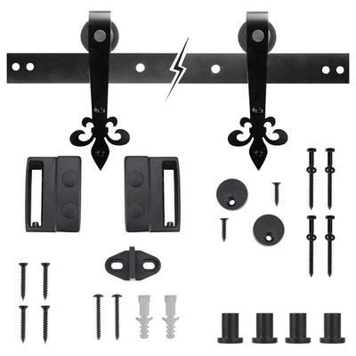 72 in. Dark Oil-Rubbed Bronze Fleur-De-Lis Sliding Barn Door Track and Hardware Kit