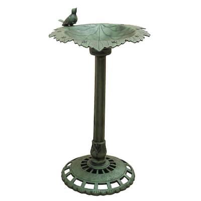 Xbrand 35 in. Tall Plastic Green Lightweight Leaf Design Birdbath and Birdfeeder with Bird Outdoor Garden Porch Decor