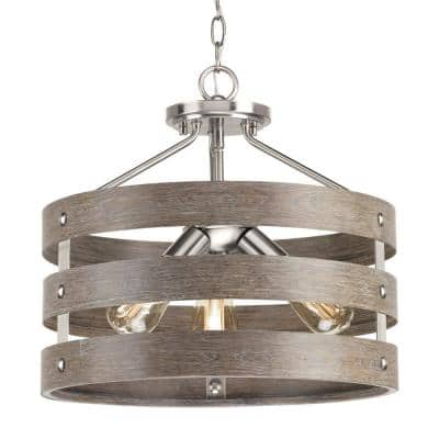 Gulliver 17 in. 3-Light Brushed Nickel Farmhouse Convertible Semi-Flush Mount with Weathered Gray Wood Accents