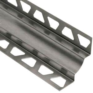 Dilex-EHK Brushed Stainless Steel 11/32 in. x 8 ft. 2-1/2 in. Metal Cove-Shaped Tile Edging Trim