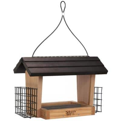 6 qt. Bamboo Hopper Bird Feeder with Suet