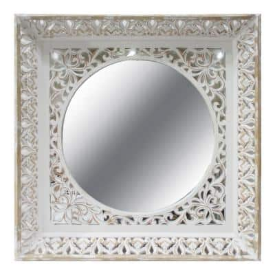 Newton 34 in. x 34 in. Rustic Square Framed Wall Mirror
