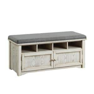 Janis Weathered White 4 Shelf Shoe Rack Bench