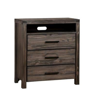 Rexburg Dark Gray Wire-Brushed Media Chest