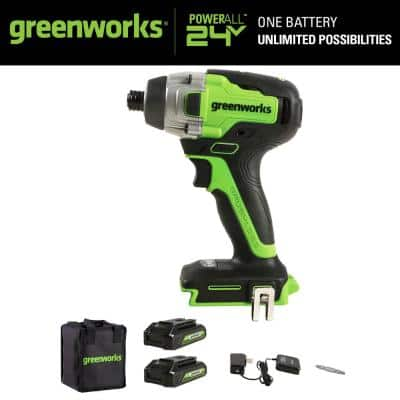 1/4 in. 24-Volt Battery Cordless Brushless Impact Driver with (2) 1.5 Ah Batteries and Charger