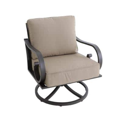 Milano Brown Swivel Metal Outdoor Lounge Chair with Tan Cushions (2-Pack)