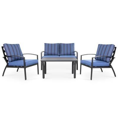 4-Piece Aluminum Outdoor Patio Conversation Seating Set with Dark Blue Stripe Cushions